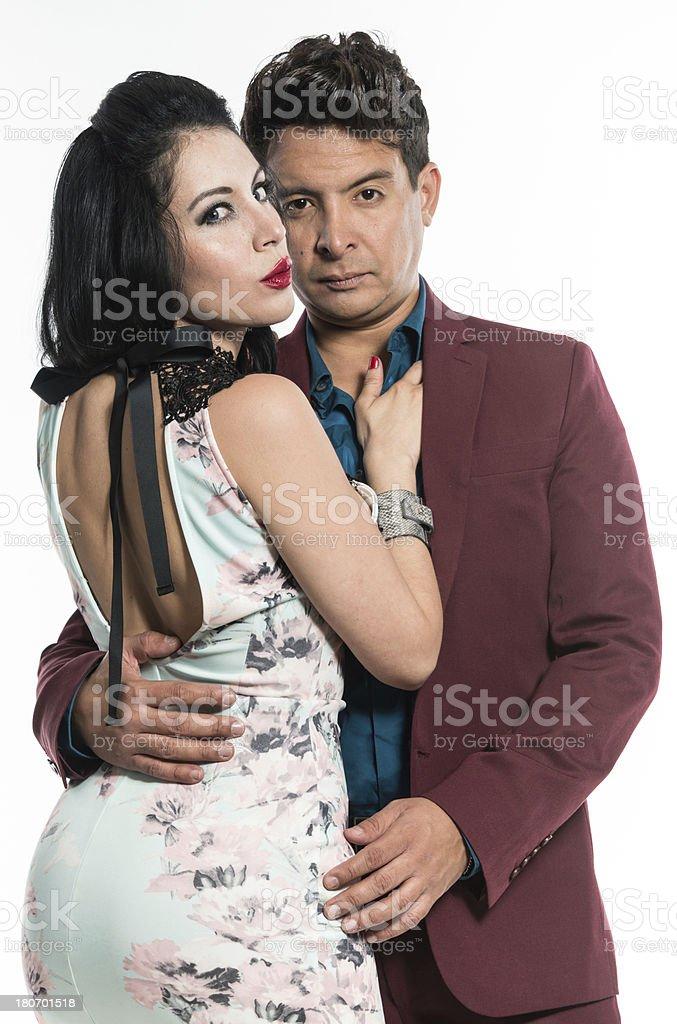 Hispanic couple in a fashion show royalty-free stock photo