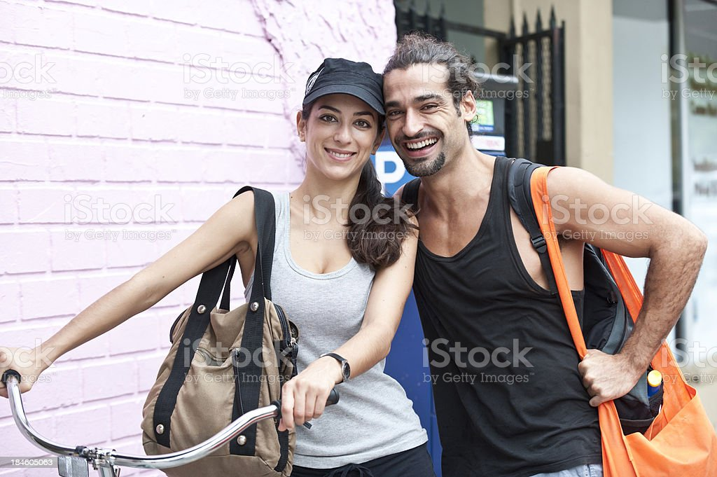Hispanic couple visiting a city royalty-free stock photo