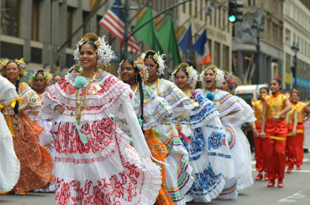 NYC Hispanic Day Parade 2018 New York City: New York City's Hispanic Day Parade marches up Fifth Avenue on Sunday, October 14, 2018. Thousands of Hispanic New Yorkers participated and viewed the colorful Cultural Parade in Midtown, Manhattan. hispanic heritage month stock pictures, royalty-free photos & images
