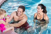 istock Hispanic family at swimming pool 465413071