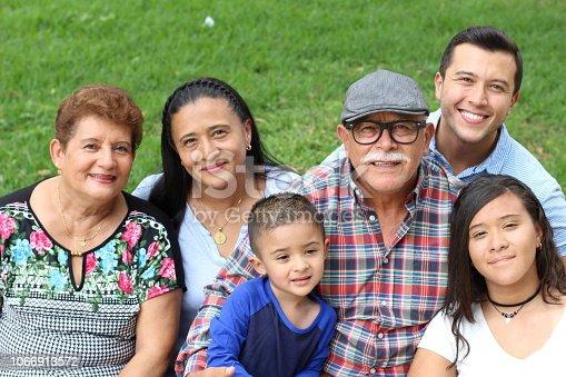 Hispanic family in the park.