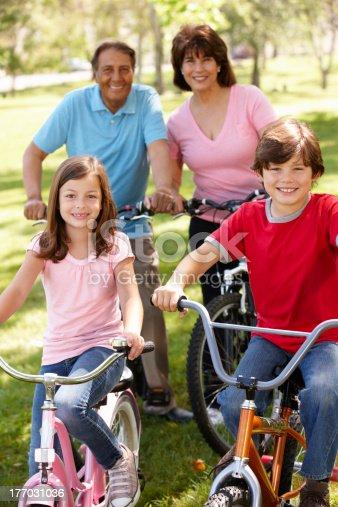 istock Hispanic family riding bikes in park 177031036