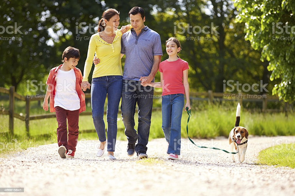 Hispanic Family Taking Dog For Walk In Countryside stock photo