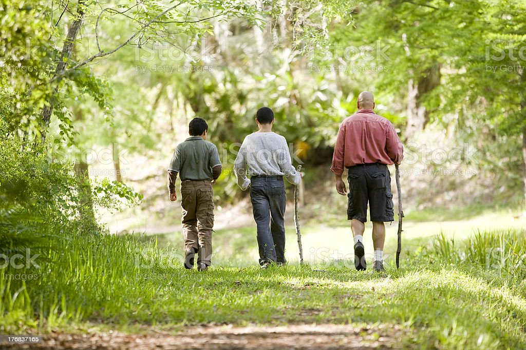 Hispanic father and sons hiking on trail in woods stock photo