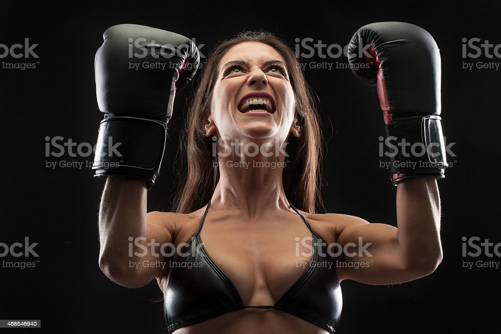 Hispanic female boxer stock photo