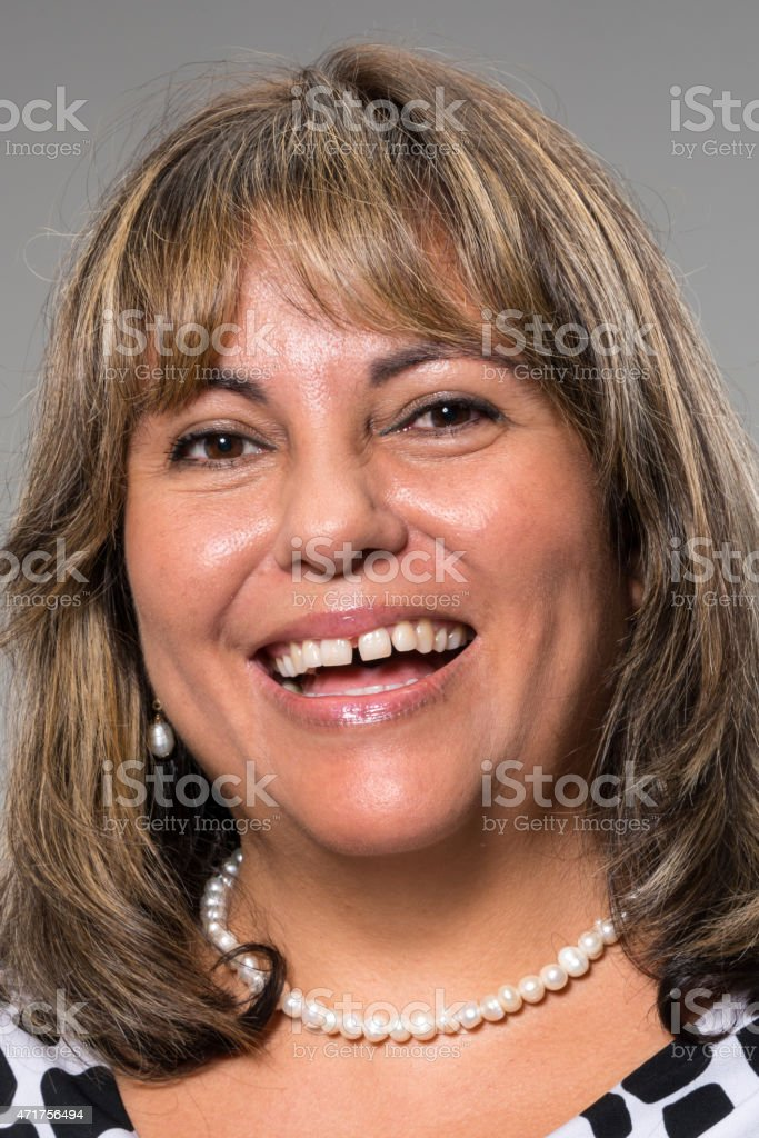 Hispanic fifty something woman stock photo