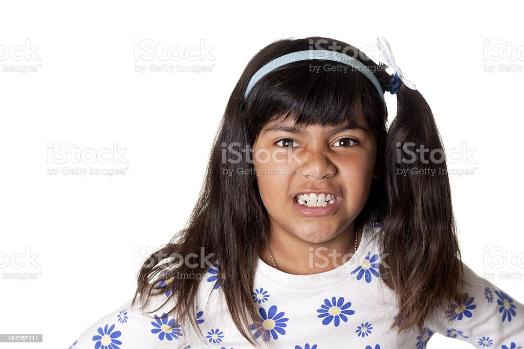 Hispanic Girl Making a Face stock photo