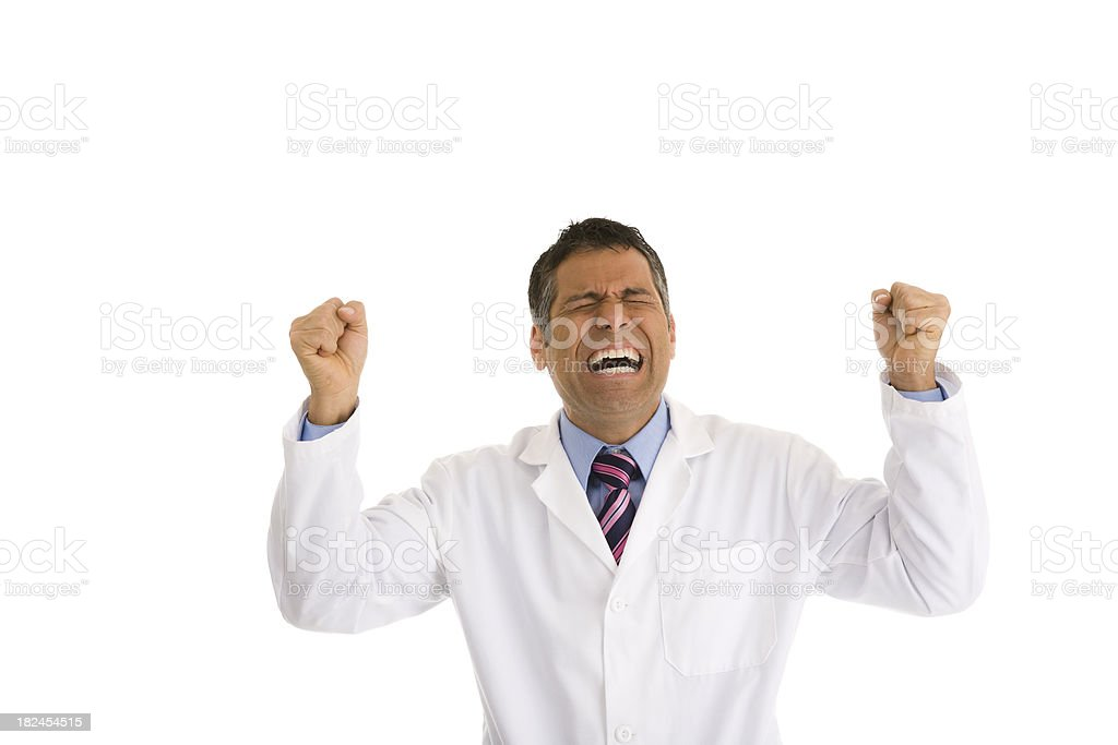 Hispanic male wearing lab coat gesturing two fists in air stock photo