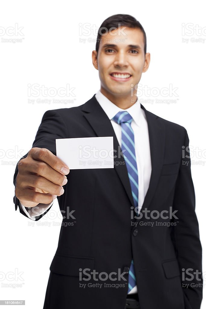 Hispanic man holding a business card royalty-free stock photo