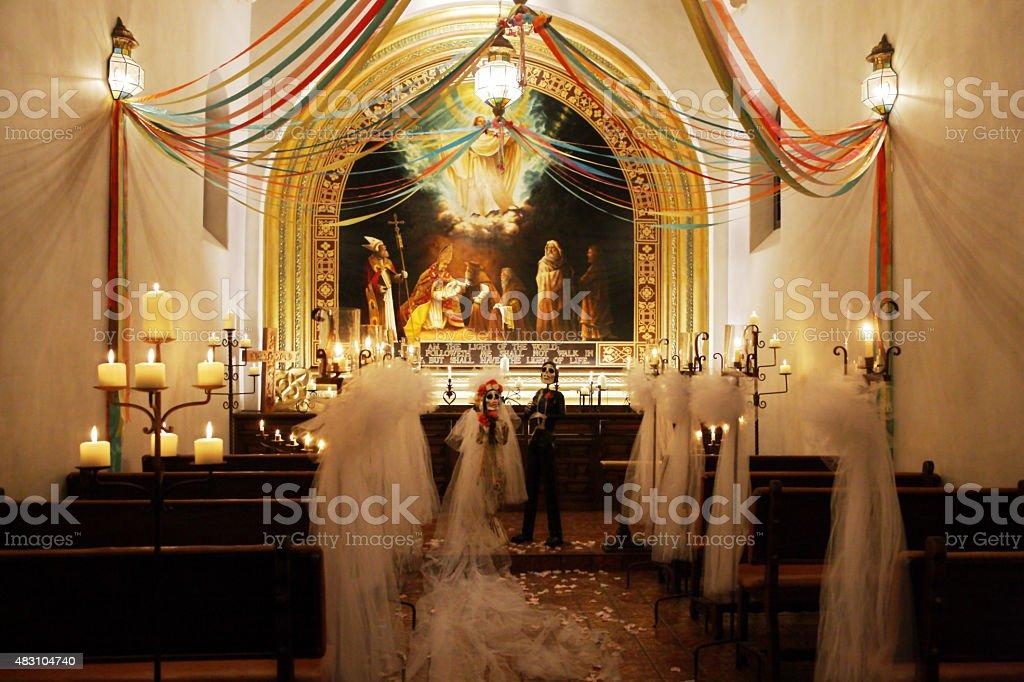 Hispanic Mission Calaveras Wedding Decor stock photo