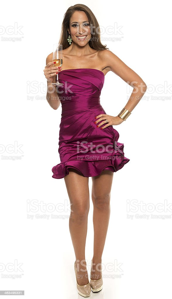 Hispanic model having champagne stock photo
