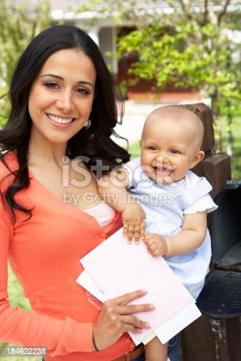 istock Hispanic Mother And Baby Checking Mailbox 184622238