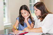 An Hispanic mother helping her 12 year old daughter with homework. They are sitting at a table, holding pencils, writing on paper in the notebook in front of them.