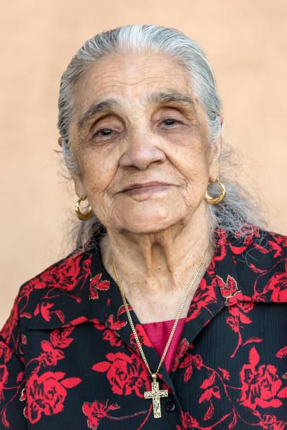 Hispanic native old lady stock photo