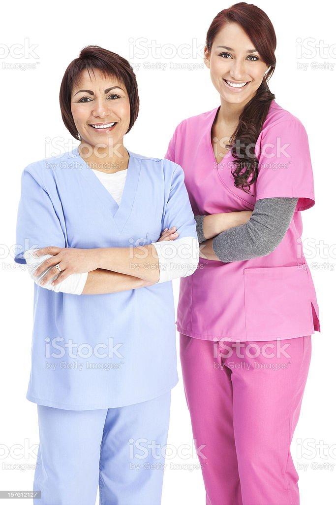 Hispanic Nurses on White stock photo