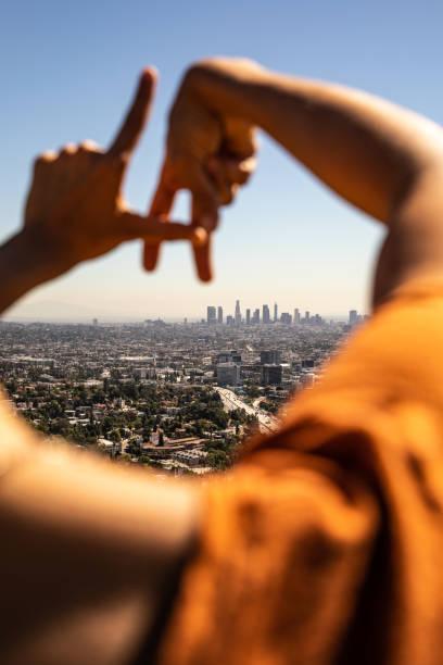 Hispanic tourist in Los Angeles - California stock photo