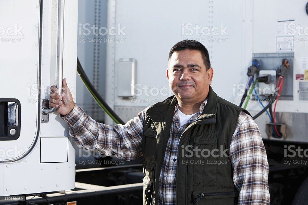 Hispanic truck driver royalty-free stock photo
