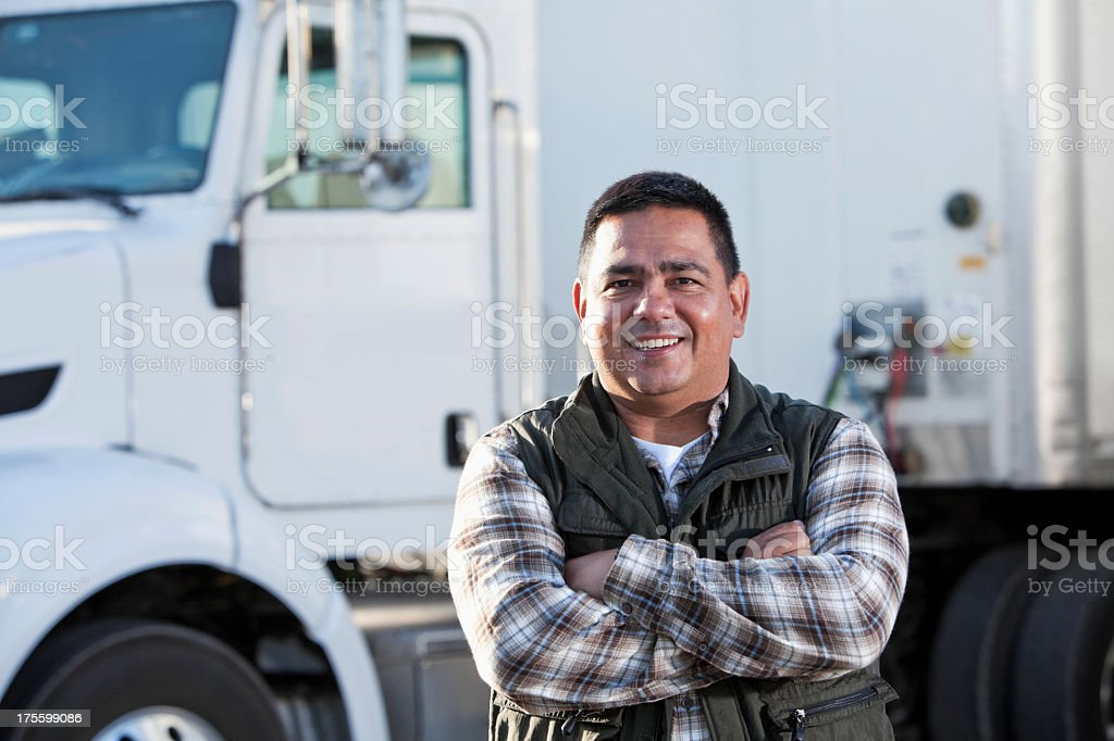 Hispanic truck driver stock photo