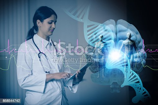 istock hispanic woman doctor and genetic engineering abstract. Internet of Things. 3D rendering. 858544742