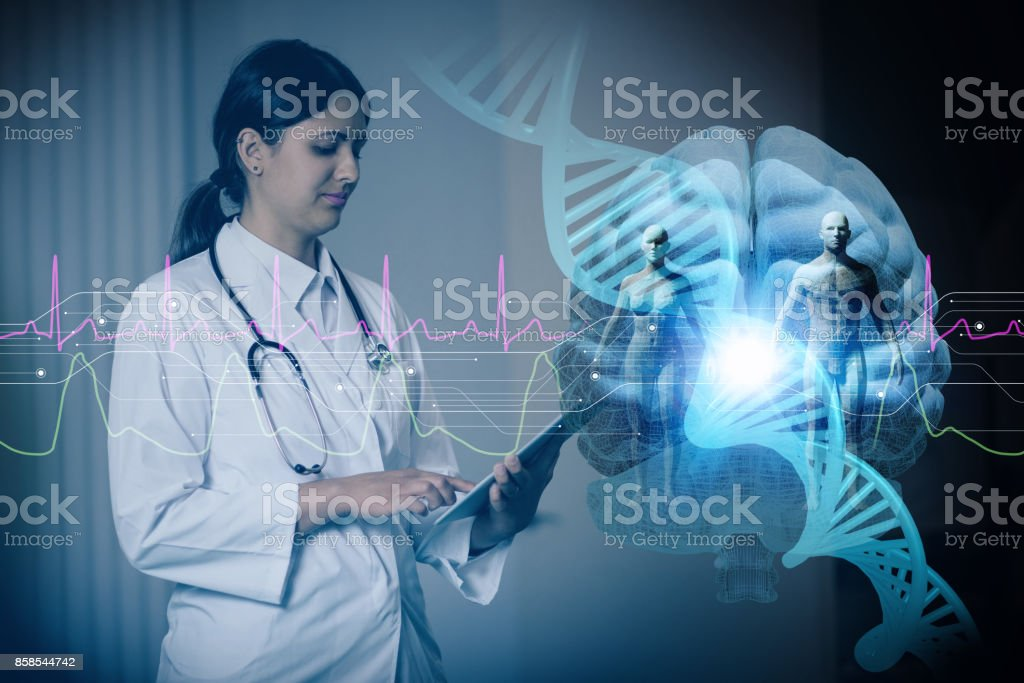 hispanic woman doctor and genetic engineering abstract. Internet of Things. 3D rendering. stock photo
