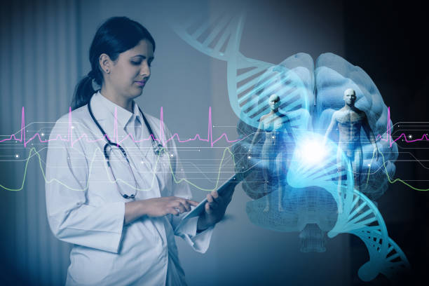 hispanic woman doctor and genetic engineering abstract. Internet of Things. 3D rendering. hispanic woman doctor and genetic engineering abstract. Internet of Things. 3D rendering. gene therapy stock pictures, royalty-free photos & images