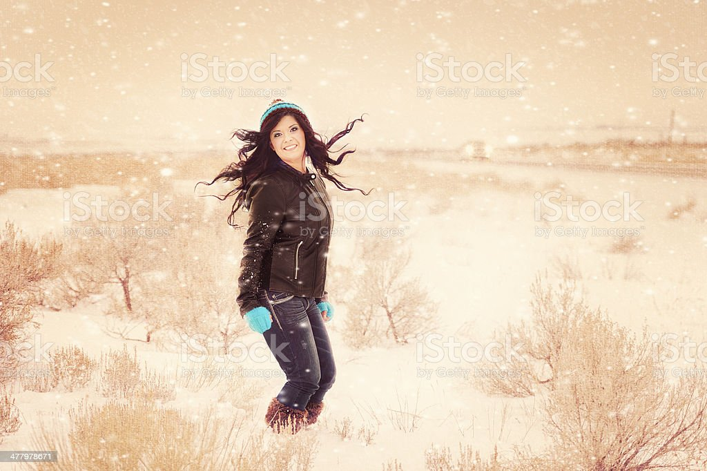 Hispanic Woman In Winter Fine Art Scenic royalty-free stock photo