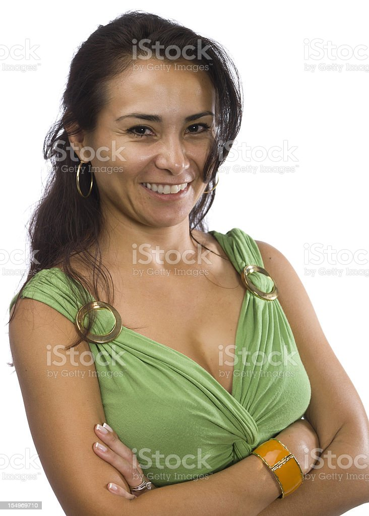 Hispanic woman on white background royalty-free stock photo