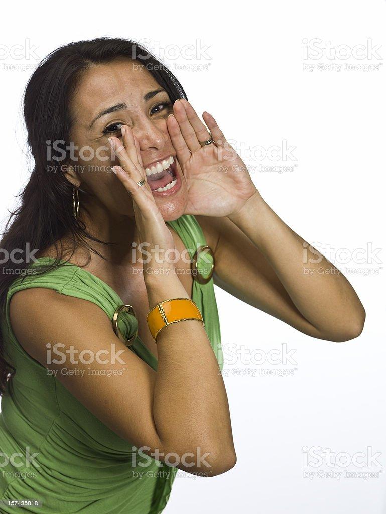 Hispanic woman screaming stock photo
