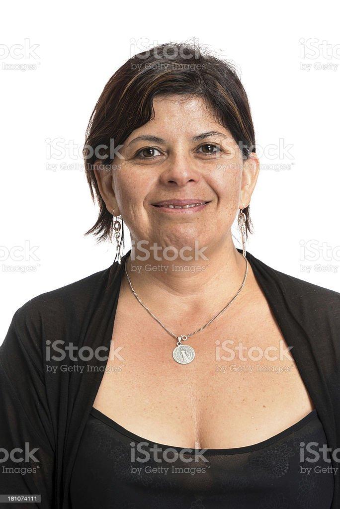 Hispanic woman smiling royalty-free stock photo
