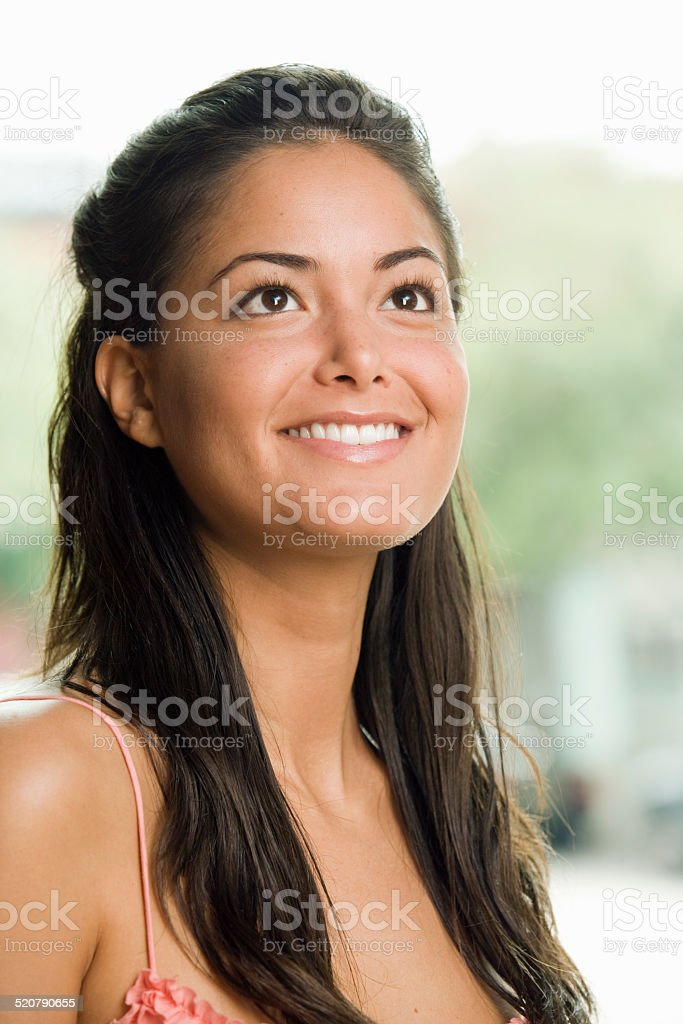 Hispanic woman smiling stock photo