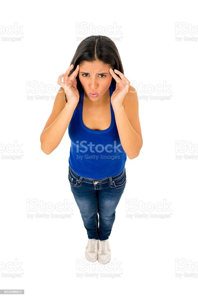 hispanic woman touching tempo with fingers suffering headache migraine stock photo