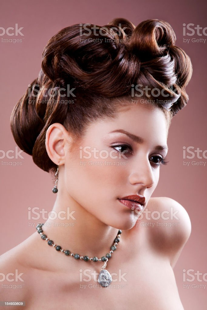 Hispanic woman with updo royalty-free stock photo