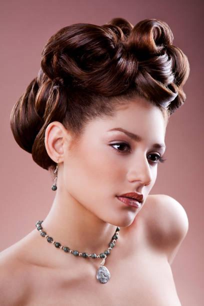 Hispanic woman with updo stock photo