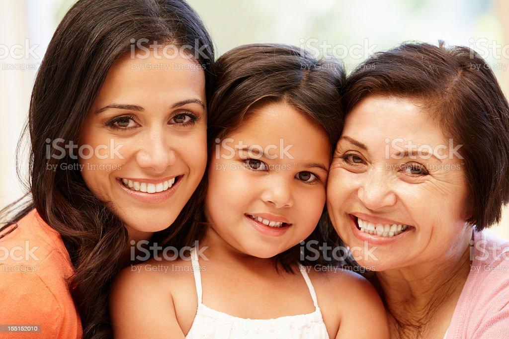Hispanic women 3 generations stock photo