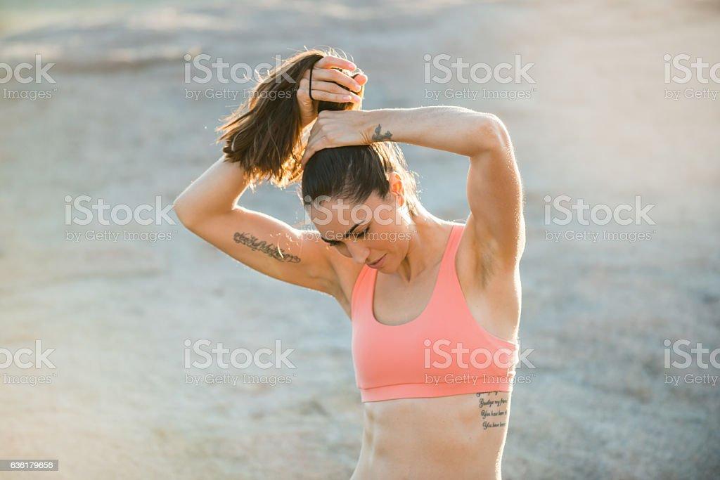 Hispanic Women Getting ready For Her Run stock photo