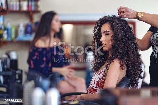 Hispanic women in a hair salon