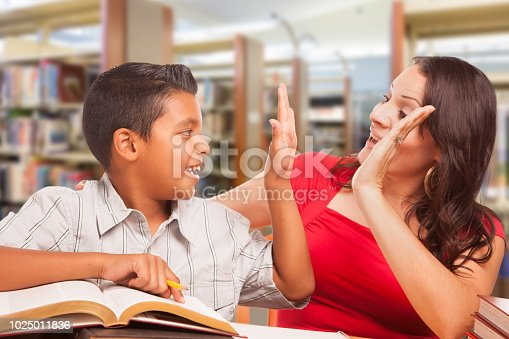 Hispanic Young Boy and Famle Adult High Five Whilte Studying At Library.
