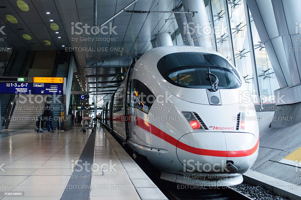 ICE 3 Hispeed train in Frankfurt Airport Train Station stock photo