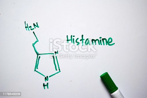 istock Histamine molecule written on the white board. Structural chemical formula. Education concept 1176545026