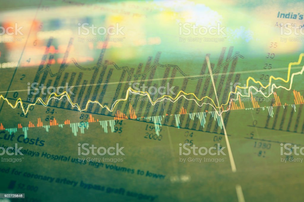 histogram graph with stock market chart data stock photo
