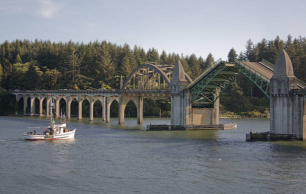 Historic 1936  Bridge Florence Oregon Drawbridge Opening for Boat Horizontal stock photo