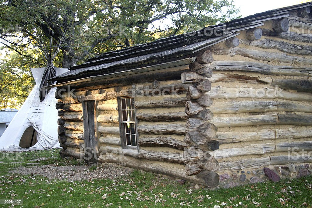 Historic Abbey Garner Cabin with Indian Teepee at Okoboji stock photo