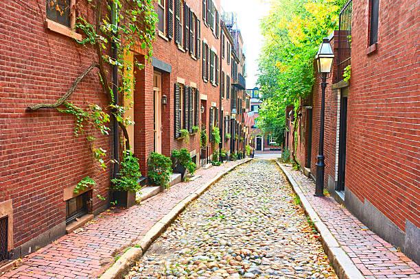 Historic Acorn Street at Boston stock photo