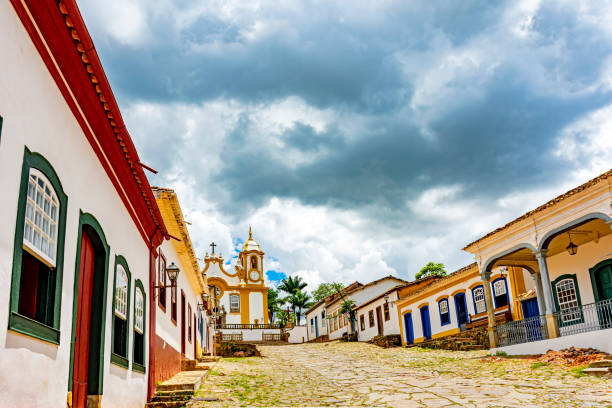 Historic and ancient church in the city of Tiradentes built in the 18th century stock photo