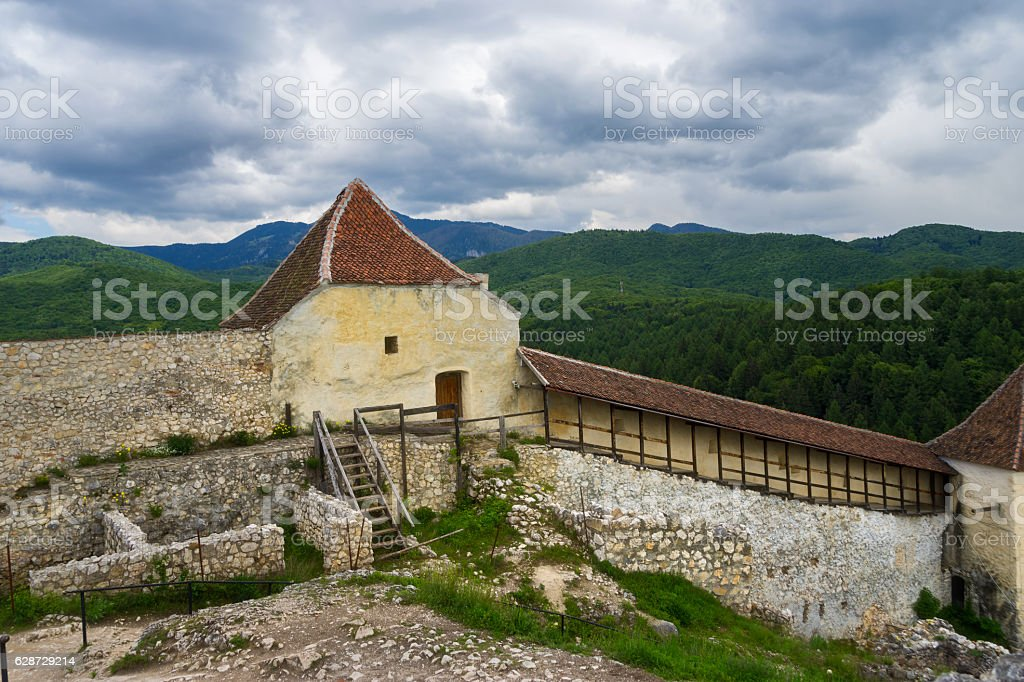 Historic and Medieval Fortress of Rasnov stock photo