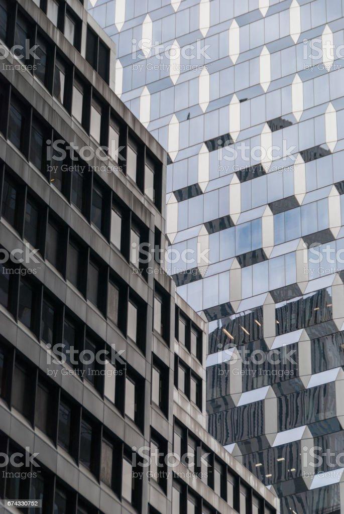 Historic and modern skyscraper facade in NYC stock photo