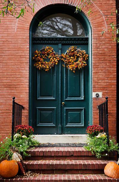 Historic Annapolis Autumn Door stock photo