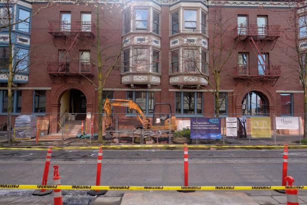 Historic Apartment Building Renovation PDX stock photo