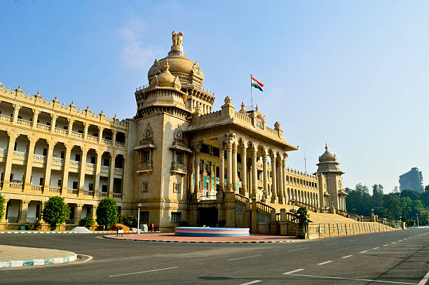 Historic architecture of Vidhana Soudha in Bangalore Vidhana Soudha is the largest legislature-cum-office building in India bangalore stock pictures, royalty-free photos & images