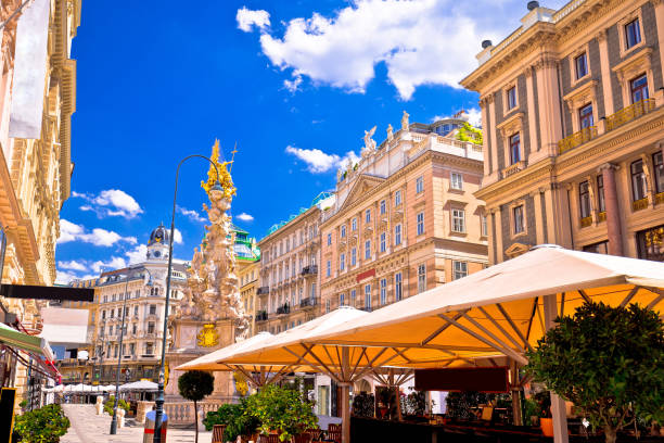 historic architecture square in vienna view, capital of austria - vienna stock photos and pictures